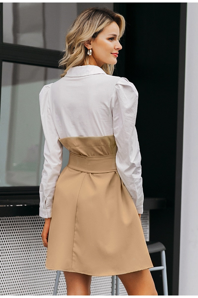 Vintage Khaki Business Dress