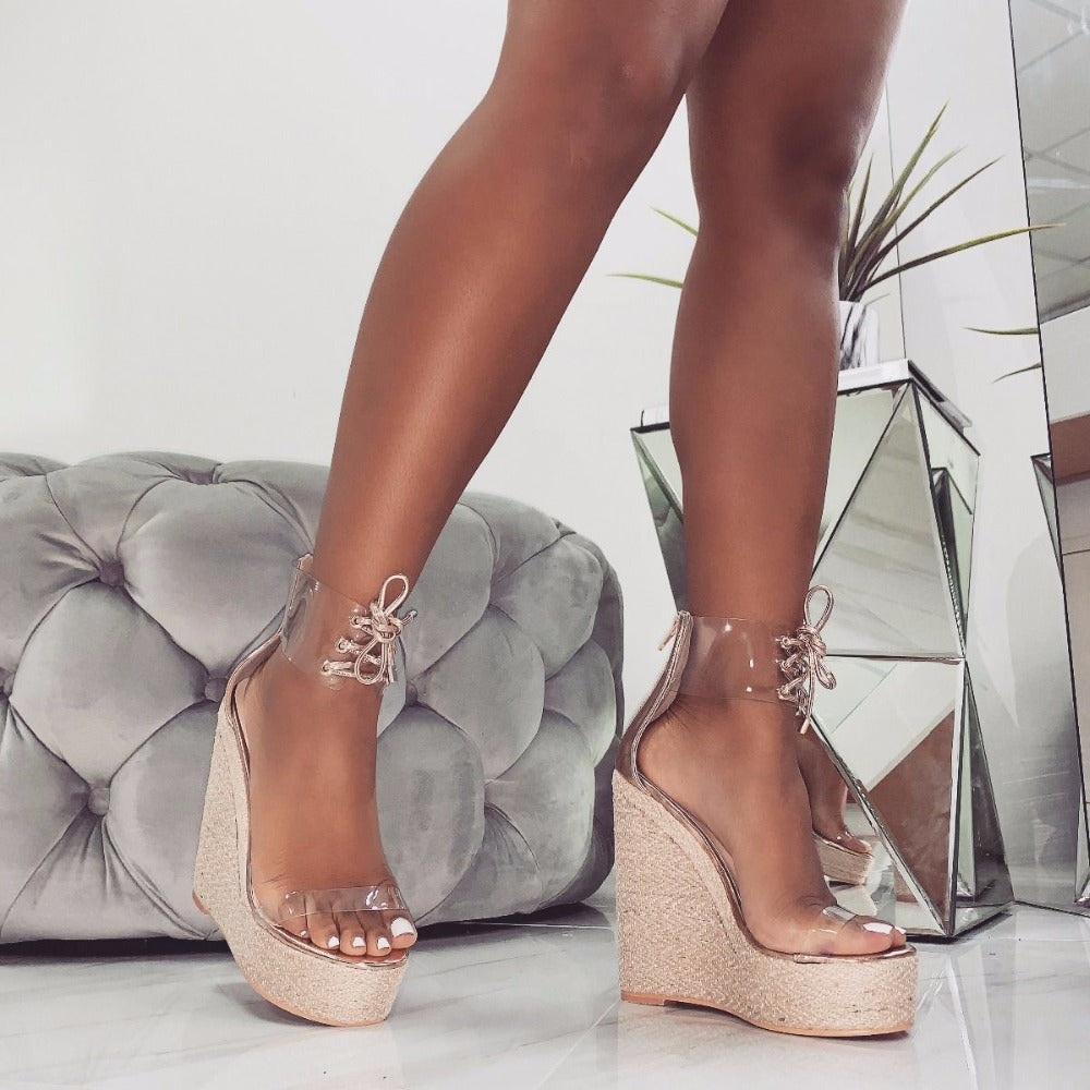 Transparent Lace-Up Wedges High Heels