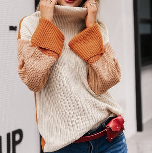 Patchwork Knitted Turtleneck Sweater