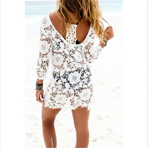 Lace Long Sleeve Bikini Cover-Up