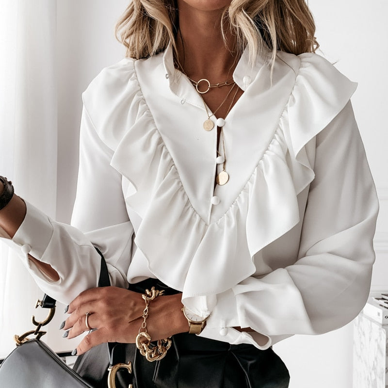 Casual Leopard Ruffle Blouse