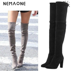 2d72c5c409e Stretch Faux Suede Thigh High Boots