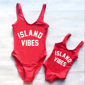 Island Vibes Mom and Daughter One Piece Swimsuit