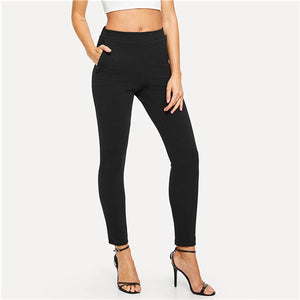 Elastic Waist Black Striped Skinny Pants