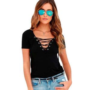 Womens Loose Lace Up Front T-Shirt