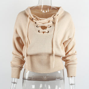 Lace Up Front Winter Sweater