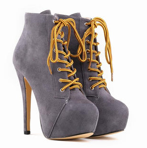 leather lace-up high heel booties