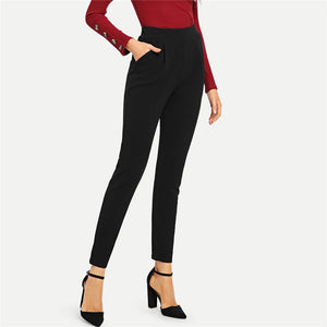 Black Pocket Side Skinny Pants