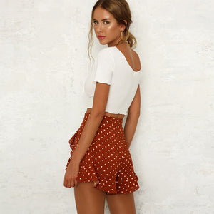 Polka Dot Ruffle Casual Summer Shorts