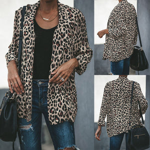 Vintage Animal Leopard Print Faux Fur Jacket