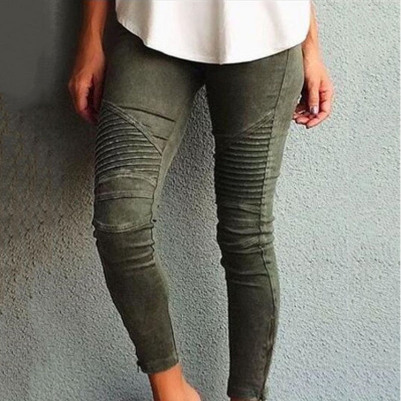 European Cotton Washed Moto Pencil Pants