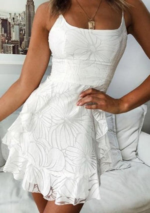 White Floral Lace Backless Ruffle Dress