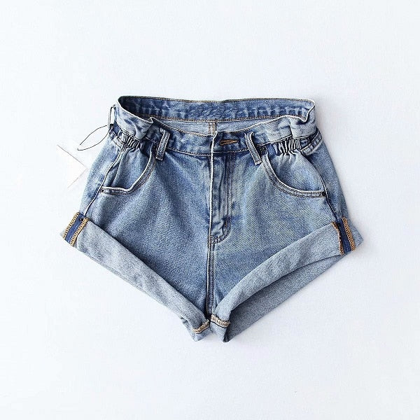 Pleat curling shorts denim shorts