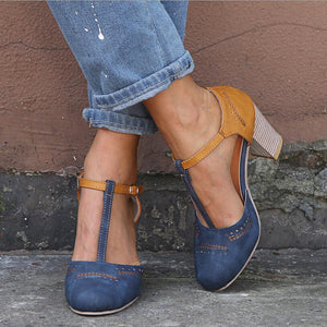 Retro Leather T Strap Chunky Heels