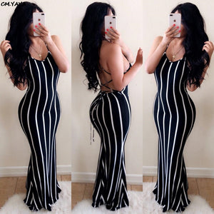 Stripes Lace Up Back  Halter Dress