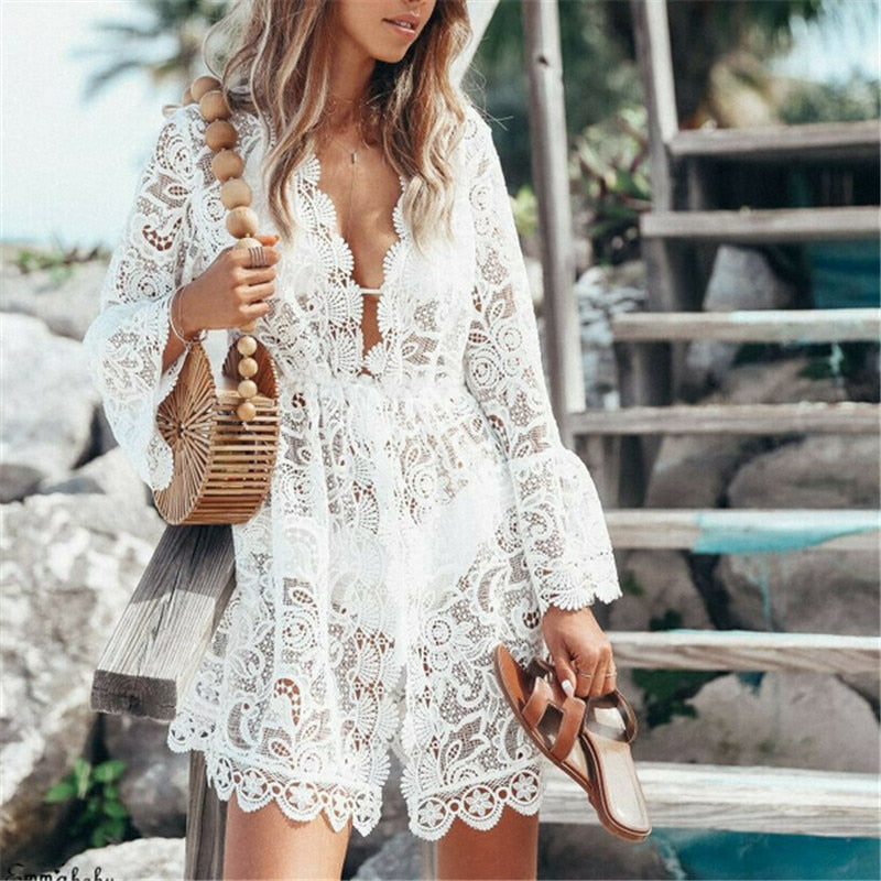 Floral Lace Swimsuit Cover Up