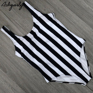 Pin Striped One Piece Swimsuit Bikini