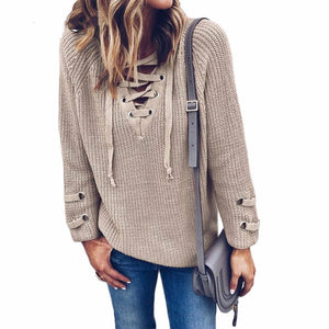 Comfy Knitted Lace Up Sweater
