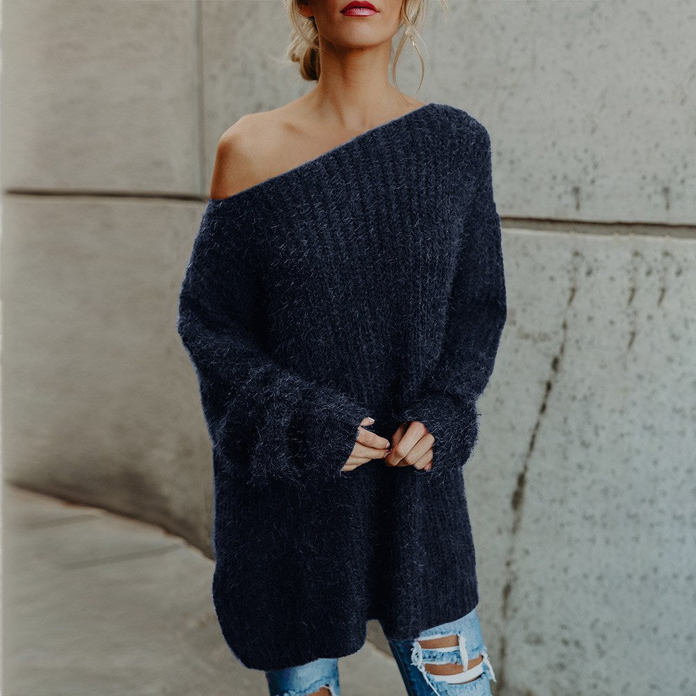 Loose Off Shoulder Long Sweater