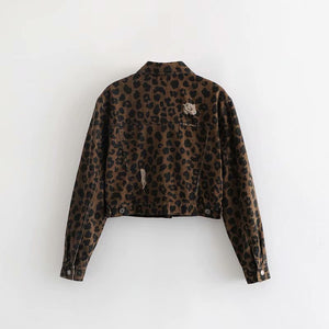 Animal Leopard Print Denim Cropped Jacket