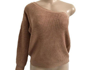 One Shoulder Long Sleeve Oversized Loose Knitted Sweater