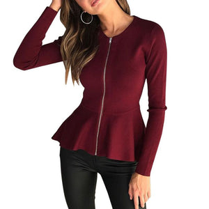 Business Casual Round Neck Zipper Jacket