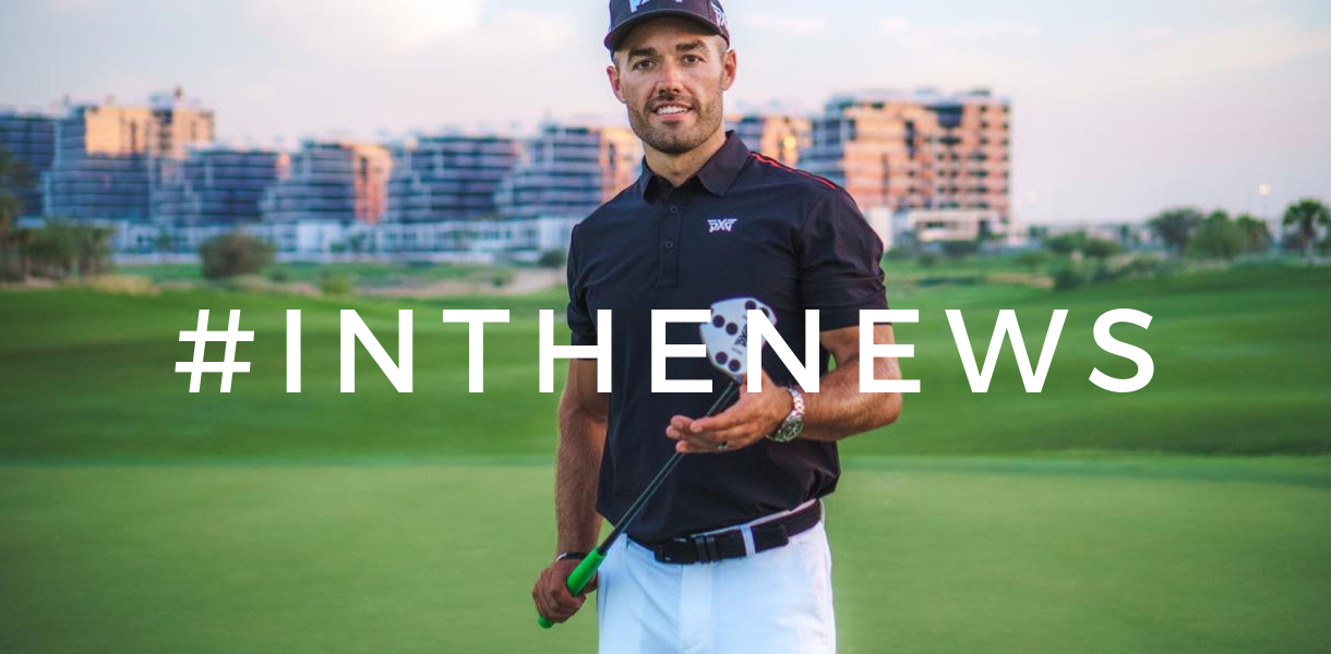 Brand Ambassador Alex Riggs standing on a golf course with a putter in his hands