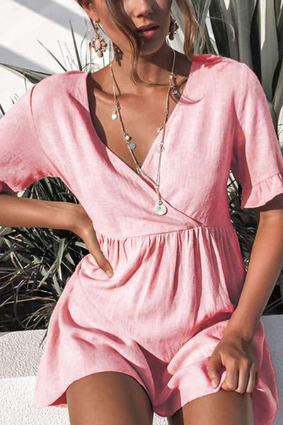 V Neck  Plain  Short Sleeve Casual Dresses