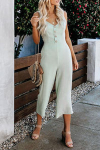 Spaghetti Straps Hollow Out Sleeveless Plain Button Jumpsuits