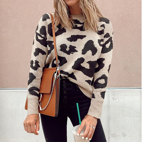 Casual round neck leopard loose sweater
