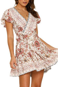 Summer Floral Printed Casual Vacation Mini Dress