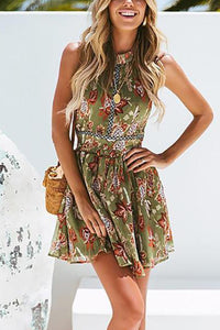 Seaside Beach   Vacation Bohemian Style Sexy Lace Splicing Floral Print Mini Dresses