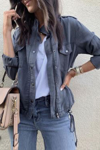 Band Collar  Plain Casual Jackets