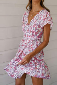 Summer V Collar Floral Printed Purple Vacation Dress