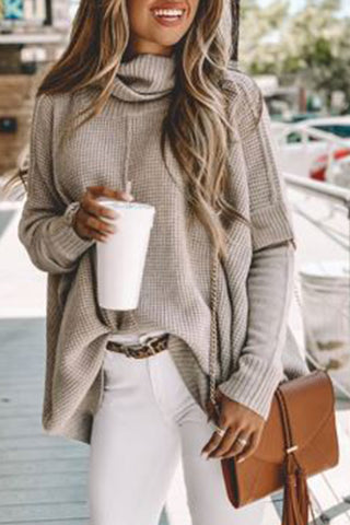 Heap Collar  Regular  Plain  Long Sleeve Sweaters