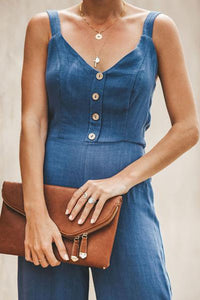 V Neck  Decorative Buttons  Plain  Sleeveless Denim Overalls