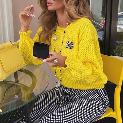 Women's fashion solid color long-sleeved knit sweater