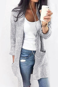 Pure Color Long Length Cardigan With Pocket