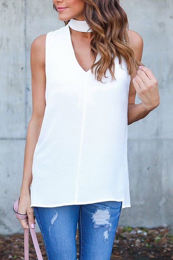 V Neck Plain Sleeveless Blouses