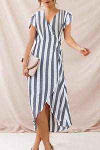 Summer V Collar Striped Loose Asymmetrical Vacation Dress