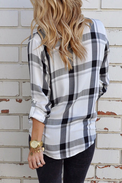 Turn Down Collar  Single Breasted  Checkered Shirts