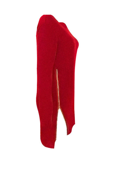 Asymmetric Hem Slit Zipper  Plain Sweaters