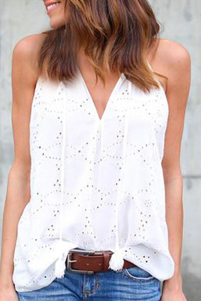V Neck  Tassel  Hollow Out Plain Vests