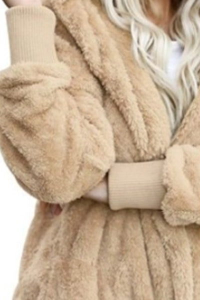 Hooded  Slit Pocket  Plain Teddy Outerwear