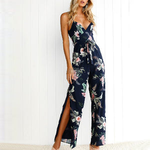 Sexy Sling Side Split Fashion Printed Jumpsuit
