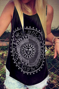Scoop Neck  Racerback  Letters Printed Vests