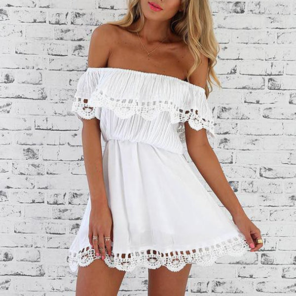 Sexy Strapless Collar Lace Stitching Casual Dress