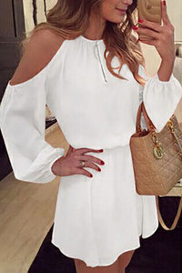 Round Neck  Backless  Plain  Lantern Sleeve  Long Sleeve Casual Dresses