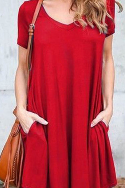 V Neck  Patch Pocket  Plain  Short Sleeve Casual Dresses