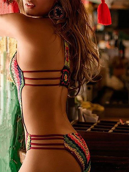 Halter  Asymmetric Stripe One Piece For Women